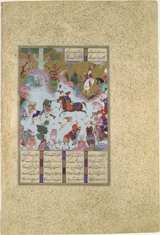 'Tahmuras Defeats the Divs', Folio 23v from the Shahnama of Shah Tahmasp | Metropolitan Museum/Public Domain
