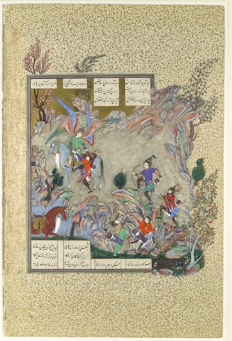 'The Angel Surush Rescues Khusrau Parviz from a Cul-de-sac', Folio 708v