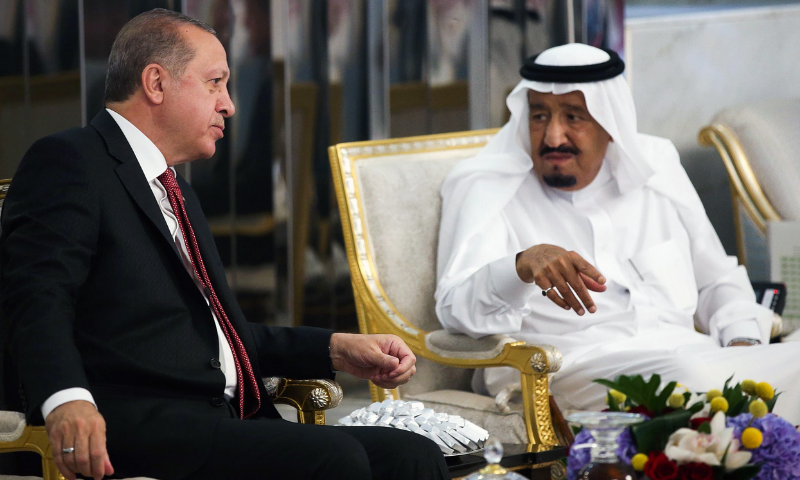 Turkish President Recep Tayyip Erdogan meeting with Saudi Arabia's King Salman bin Abdulaziz Al Saud. — AFP/File