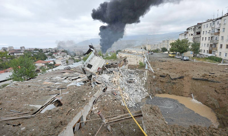 THE devastation caused by shelling in disputed Nagorno-Karabah region's main city of Stepanakert on Sunday.—AFP