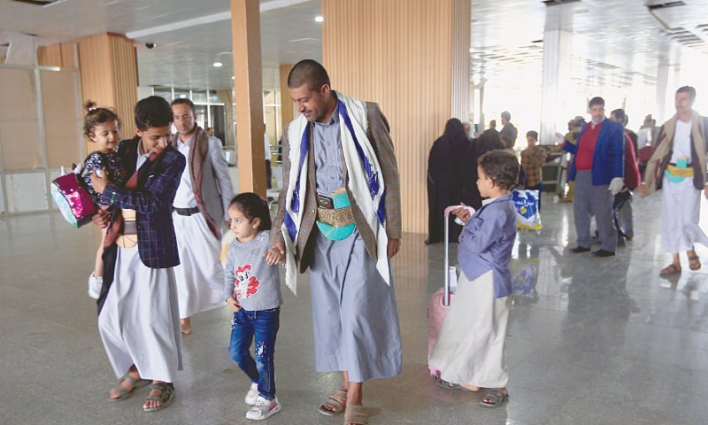 SANAA: Yemeni children who were airlifted to Jordan to undergo treatment for critical illnesses earlier this year, arrive in Yemen's rebel-held capital Sanaa after being flown home aboard a United Nations plane. — AFP