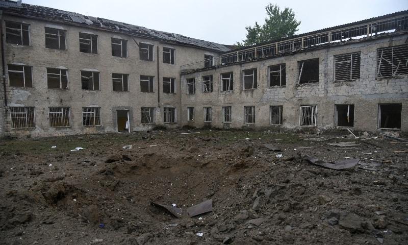 Aftermath of recent shelling during a military conflict over the breakaway region of Nagorno-Karabakh in Stepanakert October 5. — Reuters