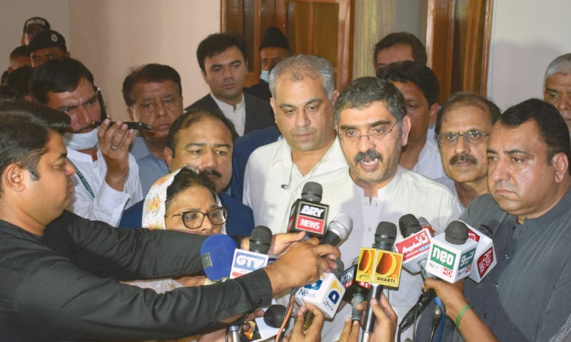 SENATOR Anwar-ul-Haq Kakar speaks to the media.—Dawn