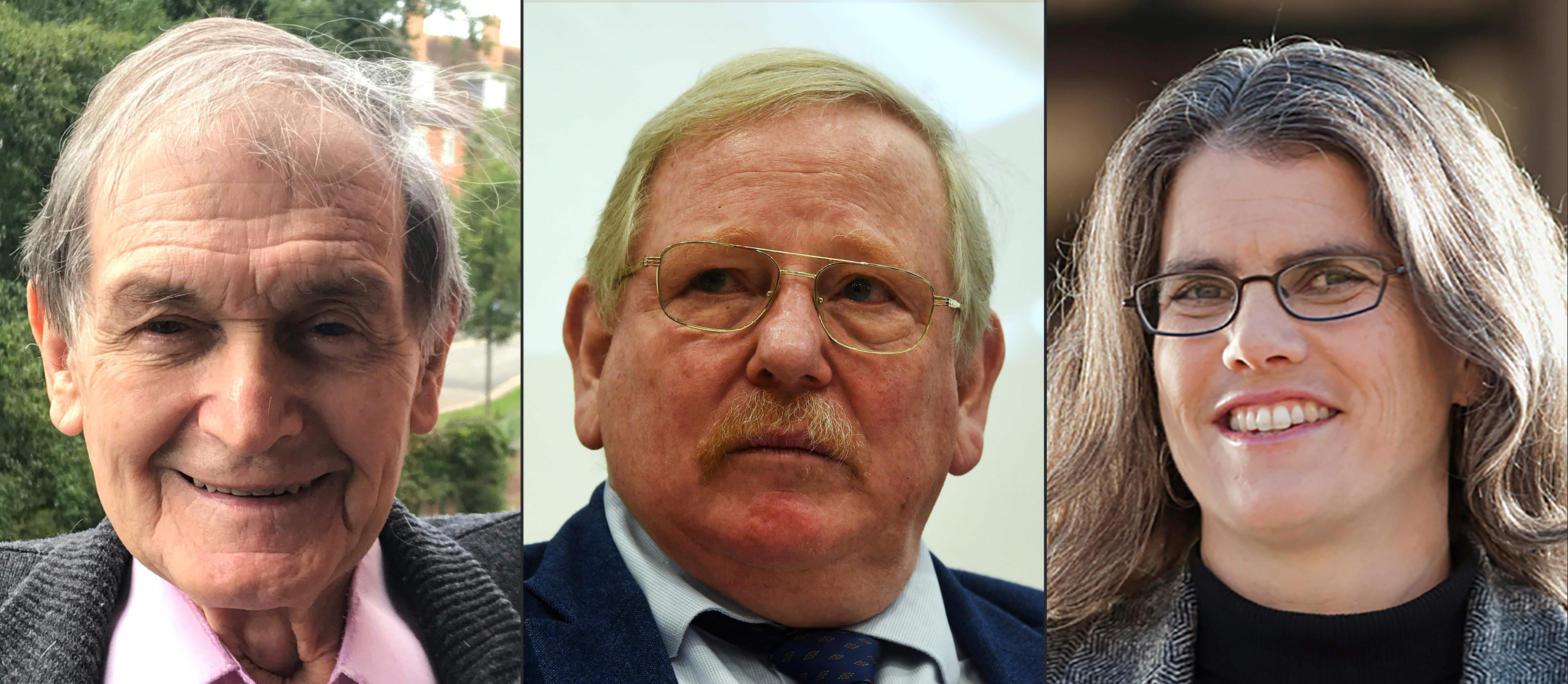 This combination of pictures created on October 6 shows (L-R) Roger Penrose, Reinhard Genzel and US astronomer and professor Andrea Ghez. — AFP