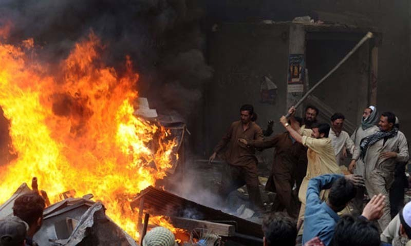 More than 3,000 people had rampaged through Joseph Colony, torching some 100 Christian homes in Lahore, after the allegations against Sawan Masih emerged. — File photo