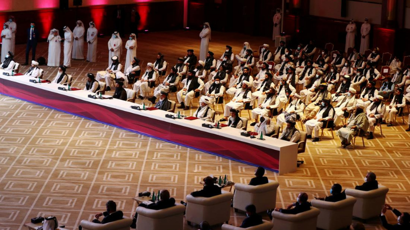 Delegates attend talks between the Afghan government and Taliban insurgents in Doha, Qatar on September 12, 2020. — Reuters/File