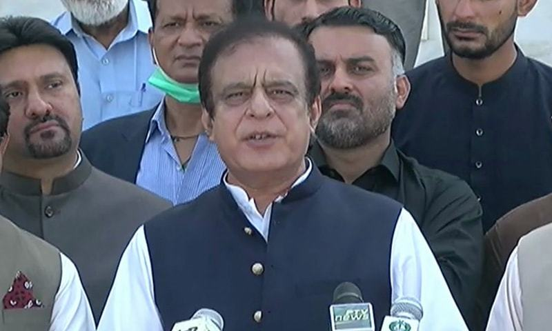 Information Minister Shibli Faraz speaks to the media in Karachi. — DawnNewsTV