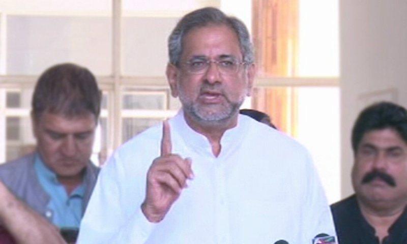 PML-N leader and former premier addressed a press conference Shahid Khaqan Abbasi. — DawnNewsTV