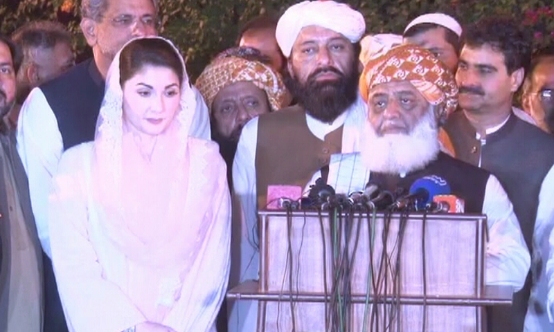 PML-N Vice President Maryam Nawaz and JUI-F chief Maulana Fazlur Rehman address a press conference after their meeting on Wednesday. — DawnNewsTV