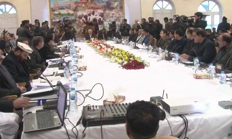 The KP cabinet holds its meeting in Landi Kotal in this Jan 2019 file photo. — DawnNewsTV