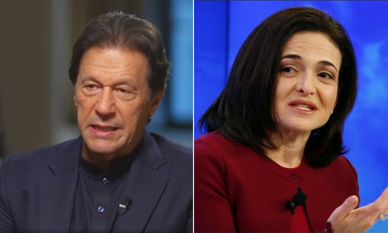 This combo of photos shows Prime Minister Imran Khan (L) and Facebook's COO Sheryl Sandberg. — Photos CNN Screengrab/Reuters