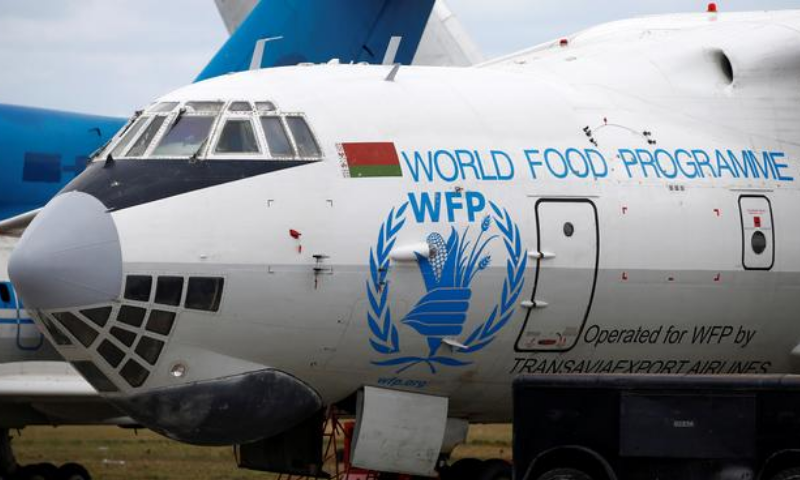 A logo of the World Food Programme humanitarian organisation is seen on a plane at the National Airport Minsk, Belarus on April 19, 2018. — Reuters