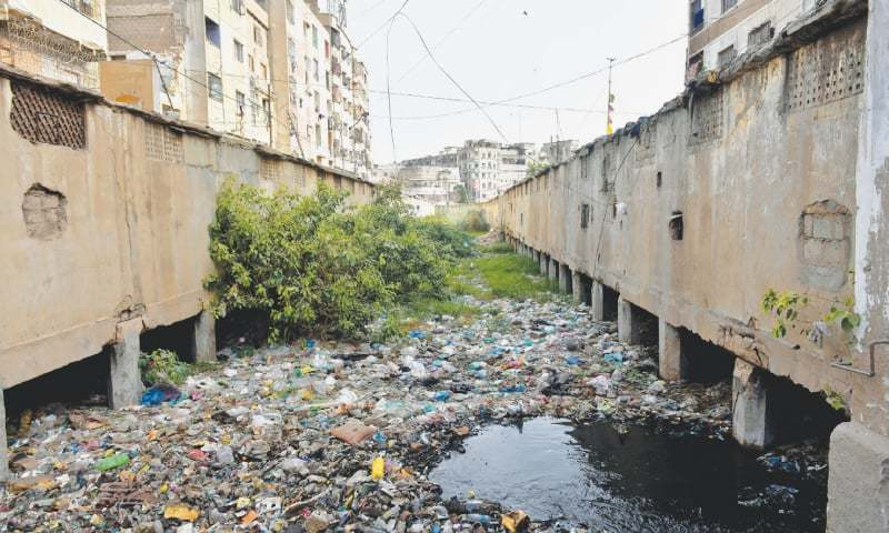 A drain in the Jubilee area is clogged with all kinds of solid waste. —Fahim Siddiqi / White Star/File