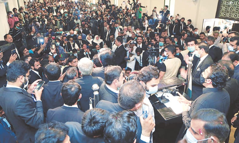 PPP chief Bilawal Bhutto-Zardari speaks at the KBA office on Saturday.—PPI