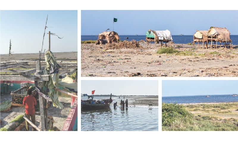 In this series of photographs a fisherman says a prayer at the shrine on Bundal island; a few makeshift huts on Bundal island; a green section of Bundal island and dogs on Buddu island wait to be fed by fishermen. — Fahim Siddiqi/White Star