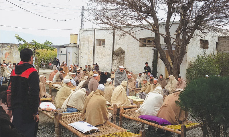 People gathered to offer condolences at a death in Hujra Bangash Abad, Tehsil Katlang, District Mardan