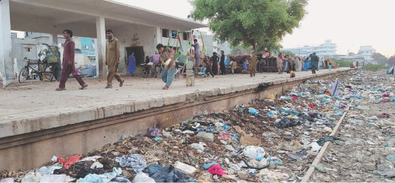 ALTHOUGH authorities are confident that the first phase of KCR will be operational within two months, ground realities suggest otherwise, as evidenced by the situation at the Orangi Town station.—Fahim Siddiqi / White Star