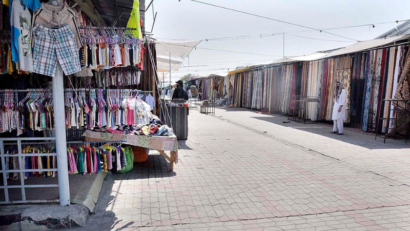 A deserted view of a weekly bazaar during lockdown in Islamabad on July 8. — APP/File