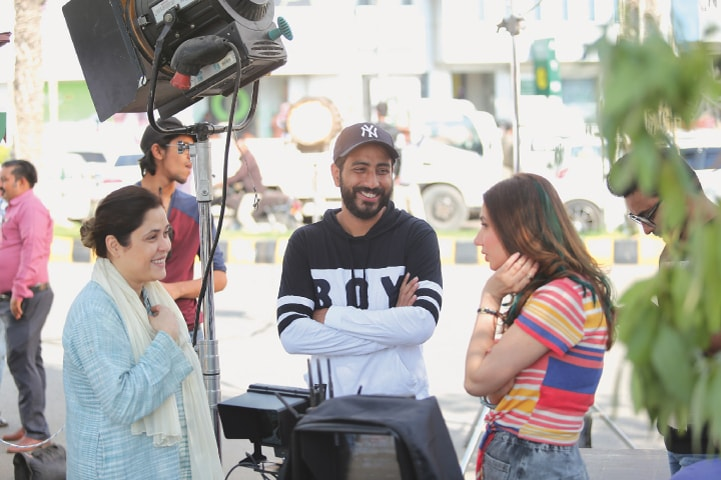 Producer Fizza Ali Meerza and director Nabeel Qureshi with Mahira Khan
