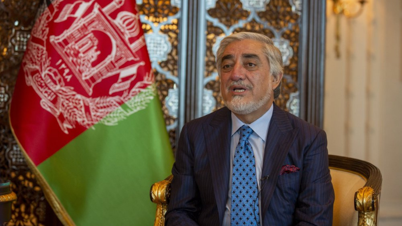 Afghanistan's chief peace envoy Abdullah Abdullah speaks during an interview with The Associated Press in New Delhi, India on Saturday. — AP