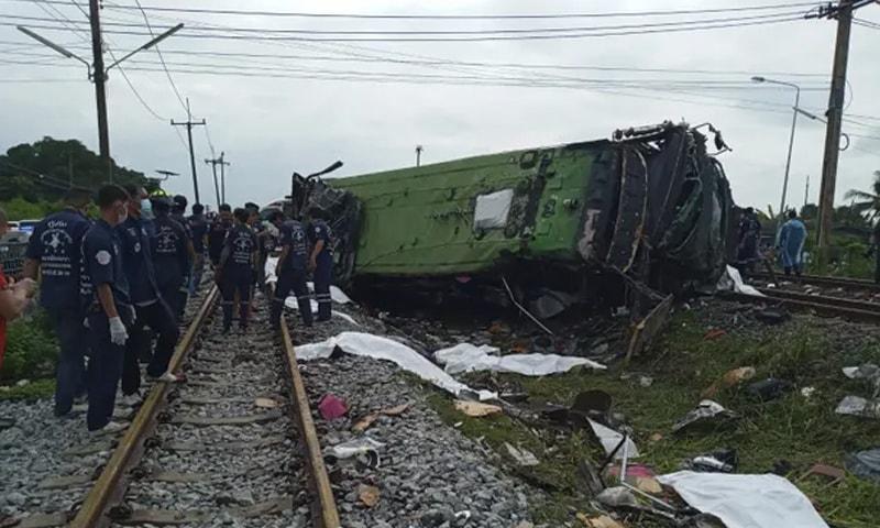 تھائی لینڈ میں ٹرین اور بس کا تصادم، 17 افراد ہلاک