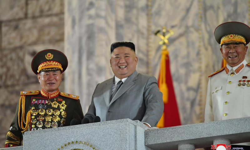 North Korean leader Kim Jong Un reacts as he attends a parade to mark the 75th anniversary of the founding of the ruling Workers' Party of Korea, in this image released by North Korea's Central News Agency on October 10. — Reuters