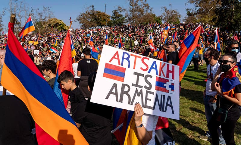 People march from Pan Pacific Park to the Consulate General of Turkey, during a protest in support of Armenia and Karabakh amid the territorial dispute with Azerbaijan over Nagorno-Karabakh, in Los Angeles, California, October 11. — AFP