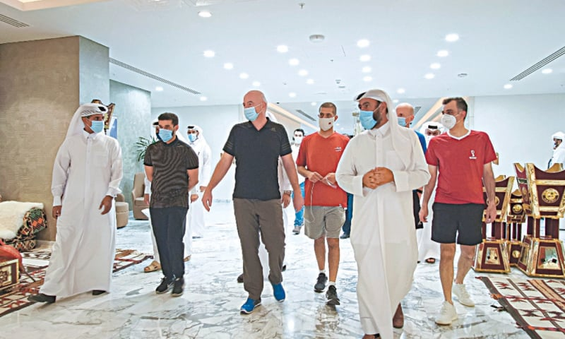 AL-KHOR (Qatar): FIFA president Gianni Infantino seen during his recent visit of the 60,000-capacity Al Bayt Stadium, a venue for the 2022 FIFA World Cup, as he is accompanied by Qatar's H.E. Hassan Al Thawadi, Nasser Al Khater and others.