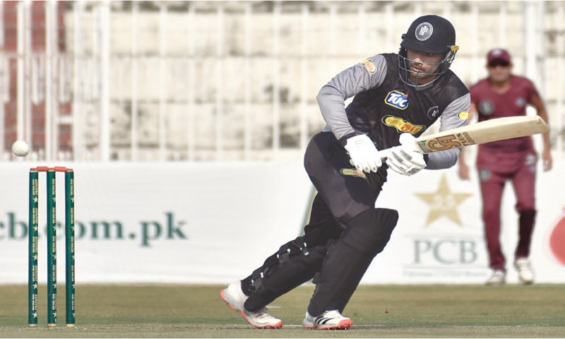 RAWALPINDI: Khyber Pakhtunkhwa opener Fakhar Zaman plays through the square-leg region on his way to 68 during the National T20 Cup match at the Pindi Cricket Stadium on Monday.—Tanveer Shahzad/White Star