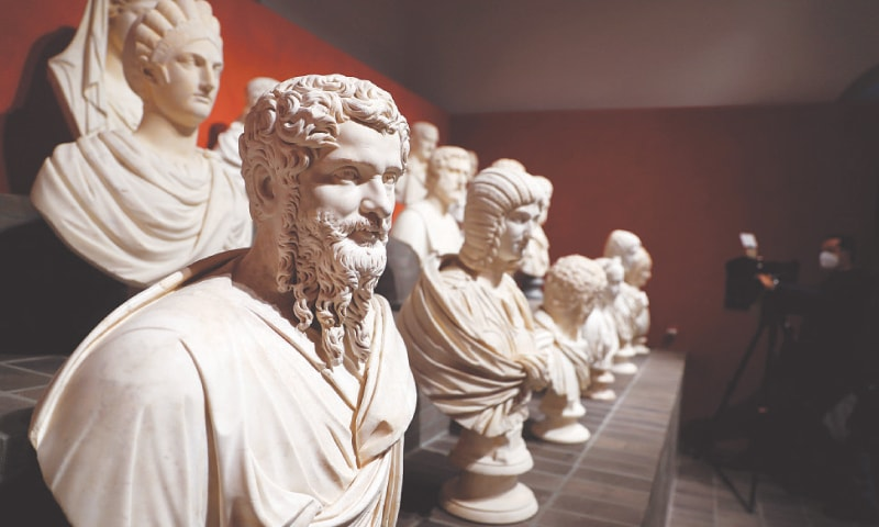 ROME: Statues from the Torlonia Marbles are seen during an exhibition that brings together 96 ancient sculptures.—Reuters
