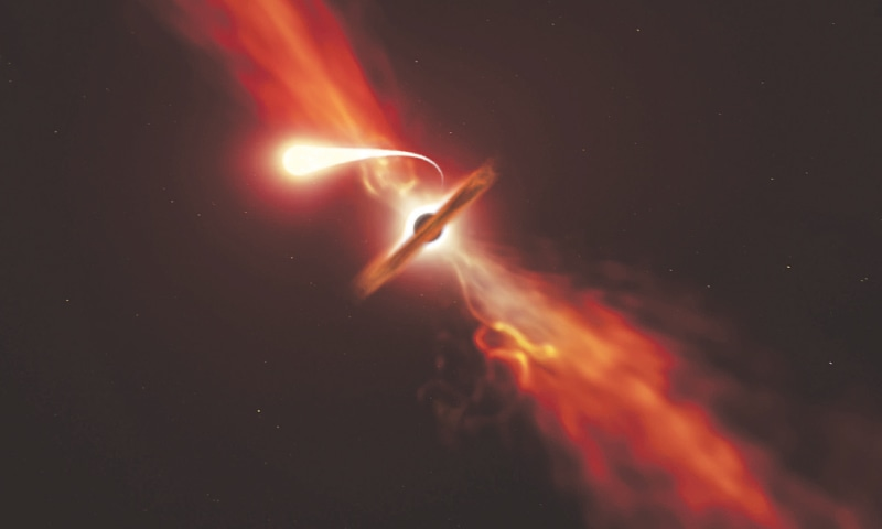 This handout picture released by The European southern Observatory on Monday shows an illustration depicting a star (in the foreground) experiencing 'spaghettification' as it is sucked in by a supermassive black hole (in the background). —AFP
