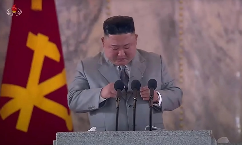 This screen grab taken from a KCTV broadcast on October 10, 2020 shows North Korean leader Kim Jong Un pausing as he makes a speech prior to a military parade marking the 75th anniversary of the founding of the Workers' Party of Korea, on Kim Il Sung square in Pyongyang.  — AFP