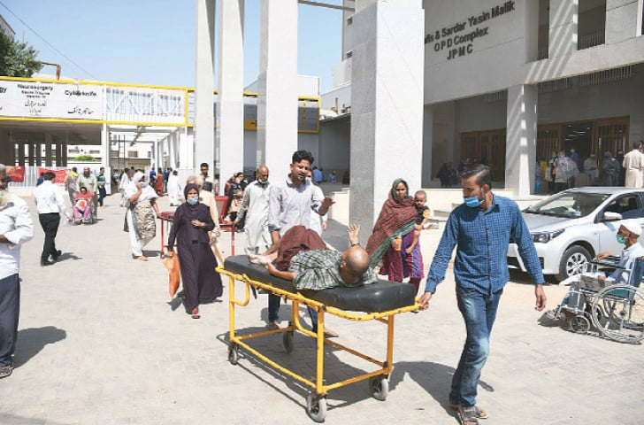 KARACHI: Patients run from pillar to post at Jinnah Postgraduate Medical Centre during a protest by doctors and paramedics against withdrawal of health risk allowance by the Sindh government.—Online