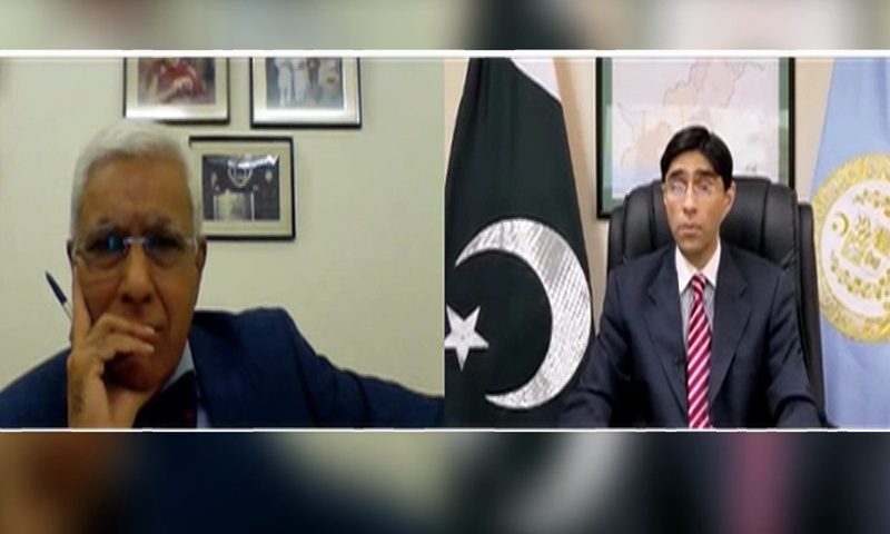 Screengrab shows SAPM on National Security Moeed Yusuf in a virtual interview with Indian journalist Karan Thapar. — Courtesy YouTube