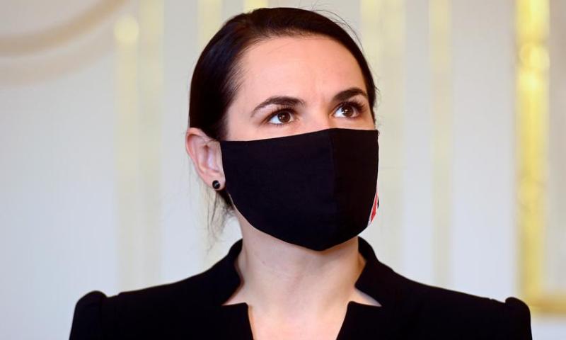 Belarus opposition leader Sviatlana Tsikhanouskaya wears a face mask ahead of a meeting with Slovak President Zuzana Caputova at the Presidential Palace in Bratislava, Slovakia. — Reuters/File