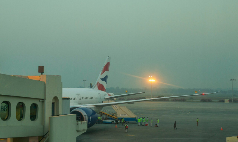 The British Airways flight is seen  at the Allama Iqbal International Airport on Tuesday. — Photo courtesy Twitter