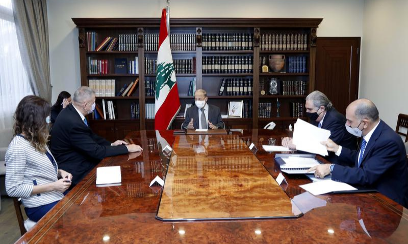 Lebanon's President Michel Aoun meets with United Nations Special Coordinator for Lebanon Jan Kubis, at the presidential palace in Baabda, Lebanon on October 13. — Reuters
