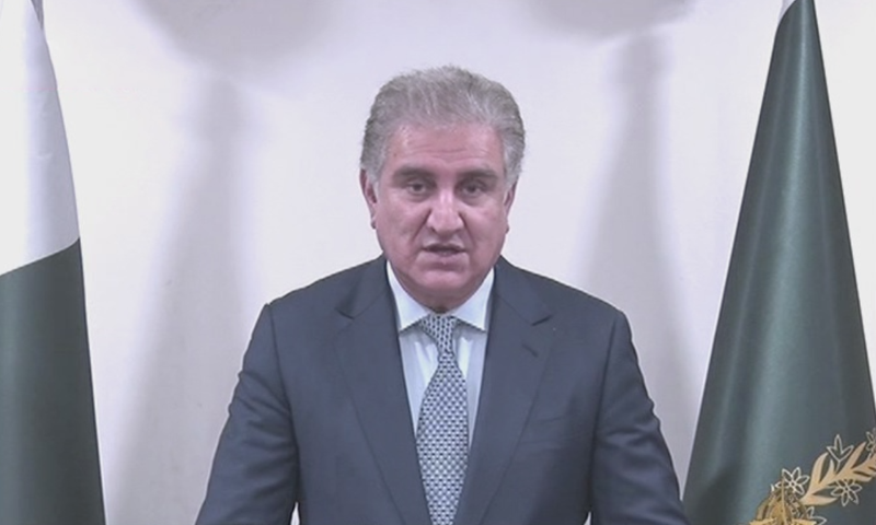 Foreign Minister Shah Mahmood Qureshi speaks to the media on Wednesday. — DawnNewsTV