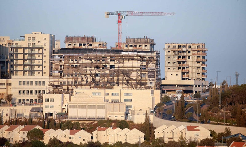 A picture taken on October 14, 2020, shows new buildings in the Israeli settlement of Efrat, south of the city of Bethlehem in the occupied West Bank. — AFP