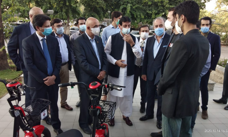 Minister for Information Technology and Telecom Syed Amin Ul Haque launched the country's first electric bike-sharing service — called ezBike — in Islamabad on Tuesday. — Photo courtesy: IT Ministry Twitter