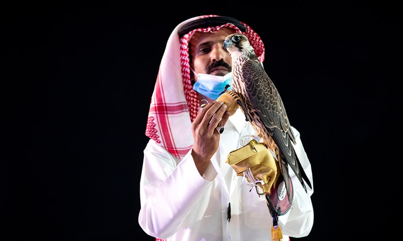 A Saudi man displays a falcon which was sold for SR650,000 (US$173284) during an auction at Saudi Falcons Club Auction in King Abdulaziz Festival in Mulham on October 13. — Via Reuters