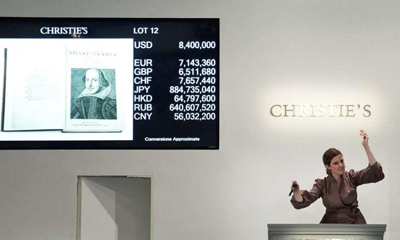 کتاب 99 لاکھ  98 ہزار ڈالر میں فروخت کردی گئی—فوٹو: رائٹرز