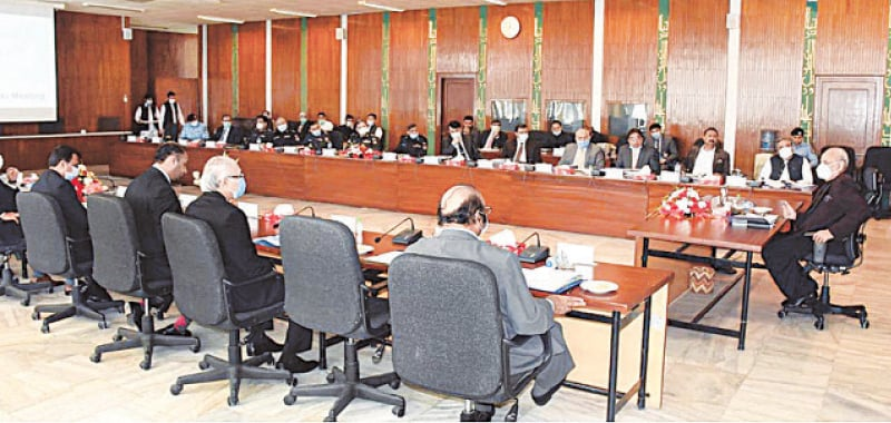 INTERIOR Minister Ijaz Ahmad Shah chairing a meeting of the board of governors of National Counter Terrorism Authority on Thursday.—APP