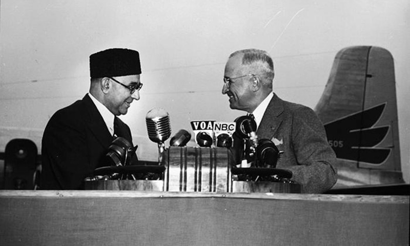 لیاقت علی خان امریکی صدر ہیری ٹرومین کے ساتھ۔ مئی 1950۔ فوٹو Truman Library