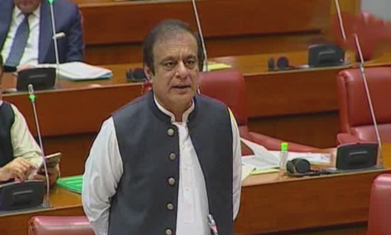 Information Minister Shibli Faraz addresses the Senate on Friday. — DawnNewsTV