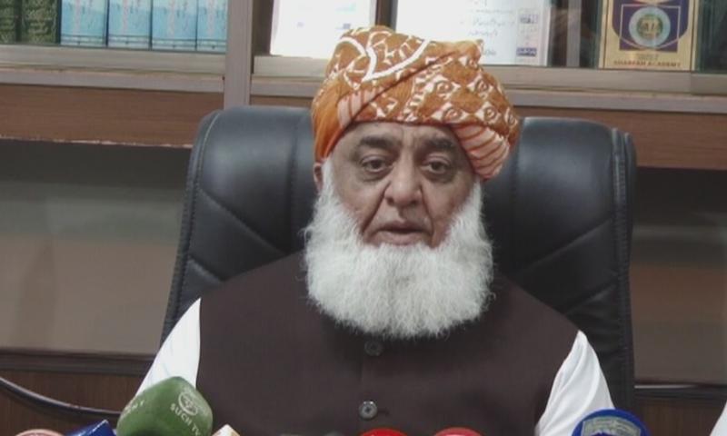 جمعیت علمائے اسلام (ف) کے سربراہ نے کہا کہ ہم عہدوں کے لیے نہیں بلکہ مقصد کے لیے پی ڈی ایم کا حصہ ہیں— فوٹو: ڈان نیوز