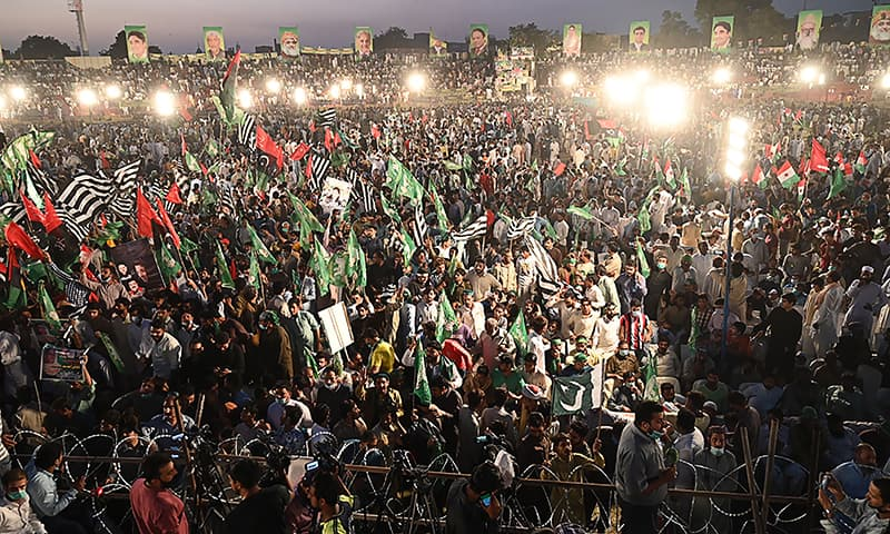 PDM supporters gather during its first public rally in Gujranwala on October 16. — AFP
