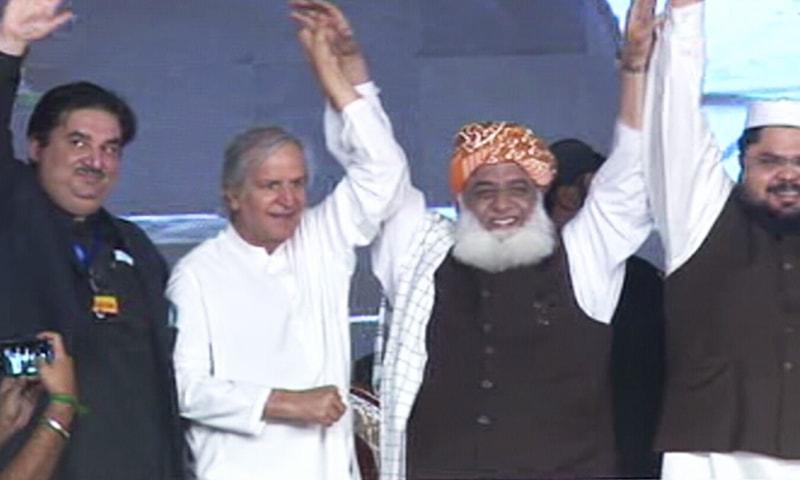Jamiat Ulema-i-Islam chief and PDM President Maulana Fazlur Rehman with PML-N's Javed Hashmi. — DawnNewsTV