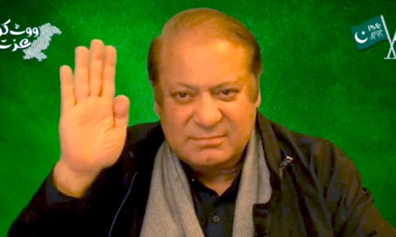 PML-N supremo Nawaz Sharif gestures before addressing the crowd via video link from London. – Twitter screengrab