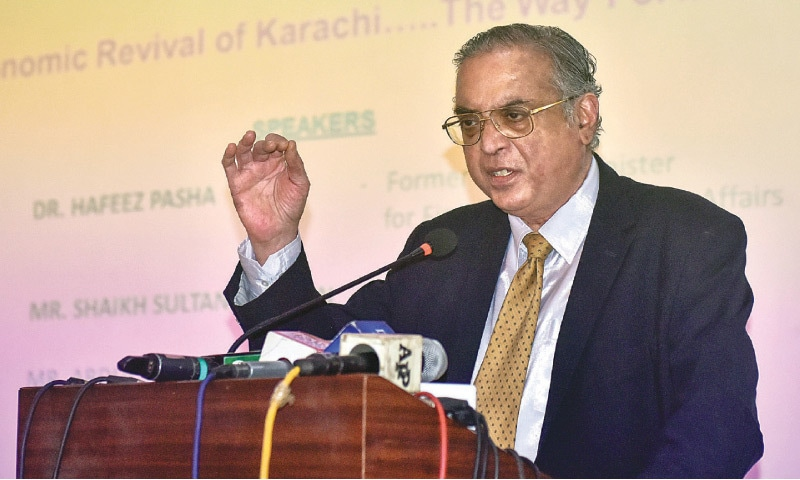 Former federal finance minister Dr Hafiz A. Pasha speaks at the event on Friday.—Fahim Siddiqi/White Star